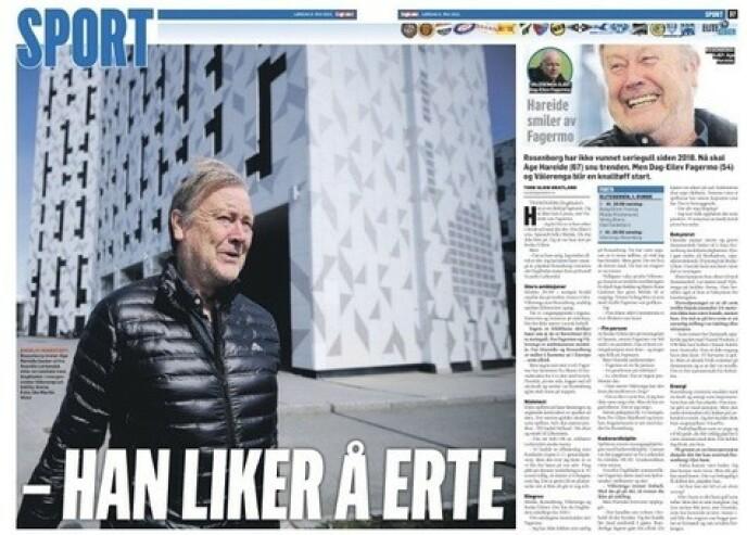 I OVERSKRIFTENE: Dagbladets intervju med Åge Hareide i papiravisa lørdag.