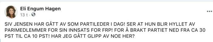 Eli Hagen reagerer på Siv Jensen-hyllest