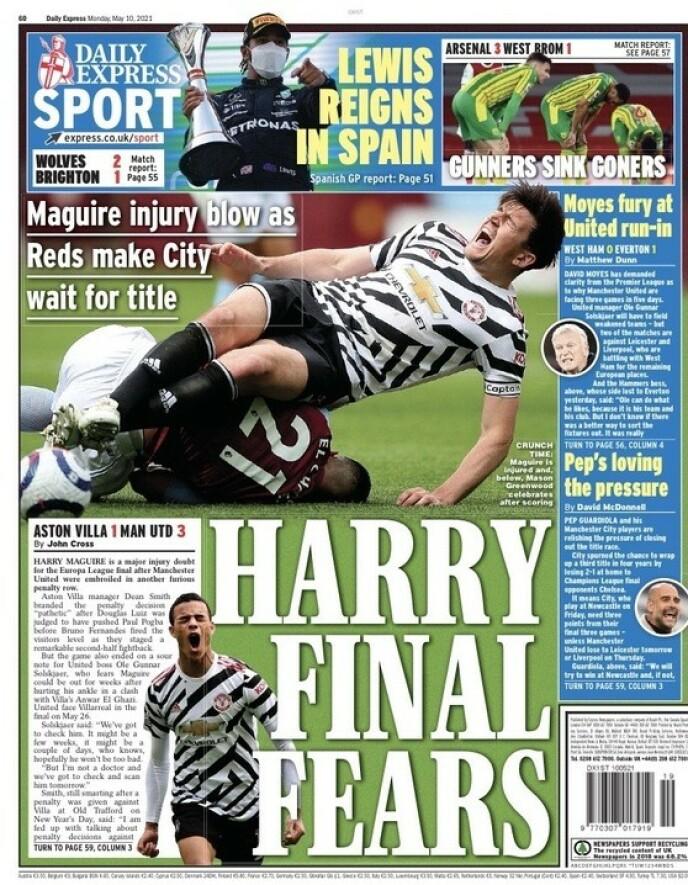 Frykt: Daily Express rapporterer at Harry Maguire er usikker foran Europa League-finalen.