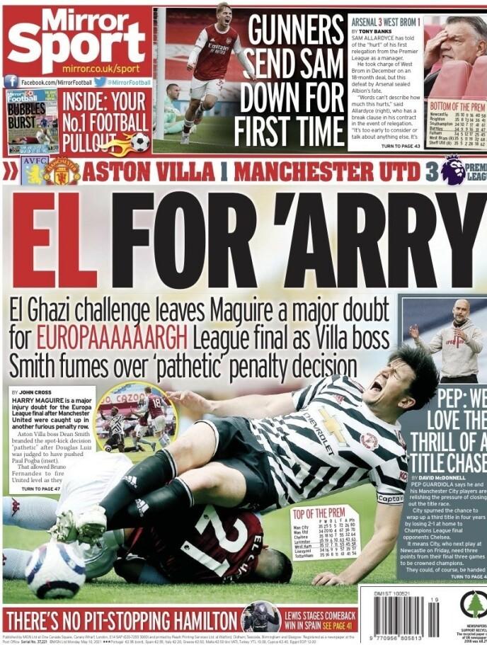 Stygg: The Mirror rapporterer at Harry Maguire er i tvil foran Europa League-finalen.
