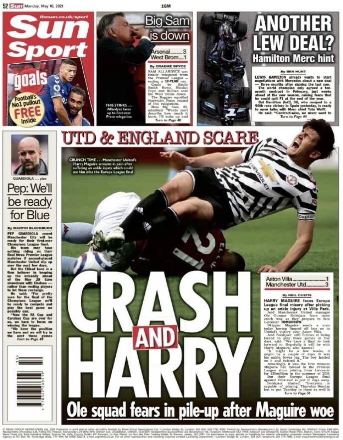 Seriøst: The Sun skriver at skaden på Harry Maguire kan forårsake problemer for både Manchester United og England.