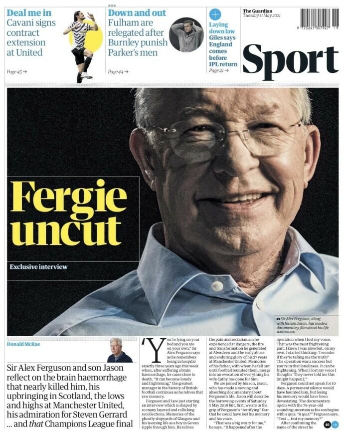 SNAKKER UT: Sir Alex Ferguson stiller opp i et eksklusivt intervju med The Guardian i dag.