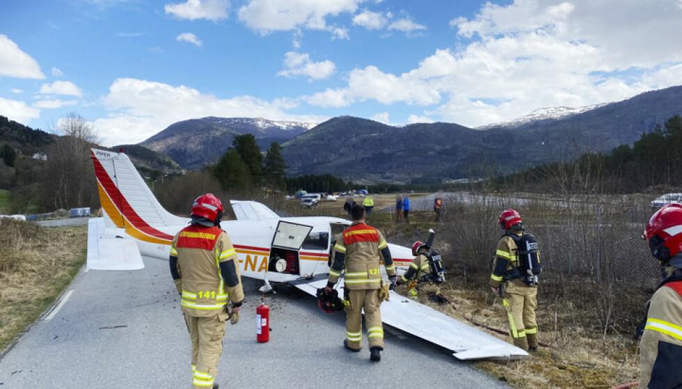 SKLED AV: Piloten har uttalt seg til Avisa Hordaland. Han beskriver landingen som problematisk. Foto: Ørjan Brattetveit/Avisa Hordaland