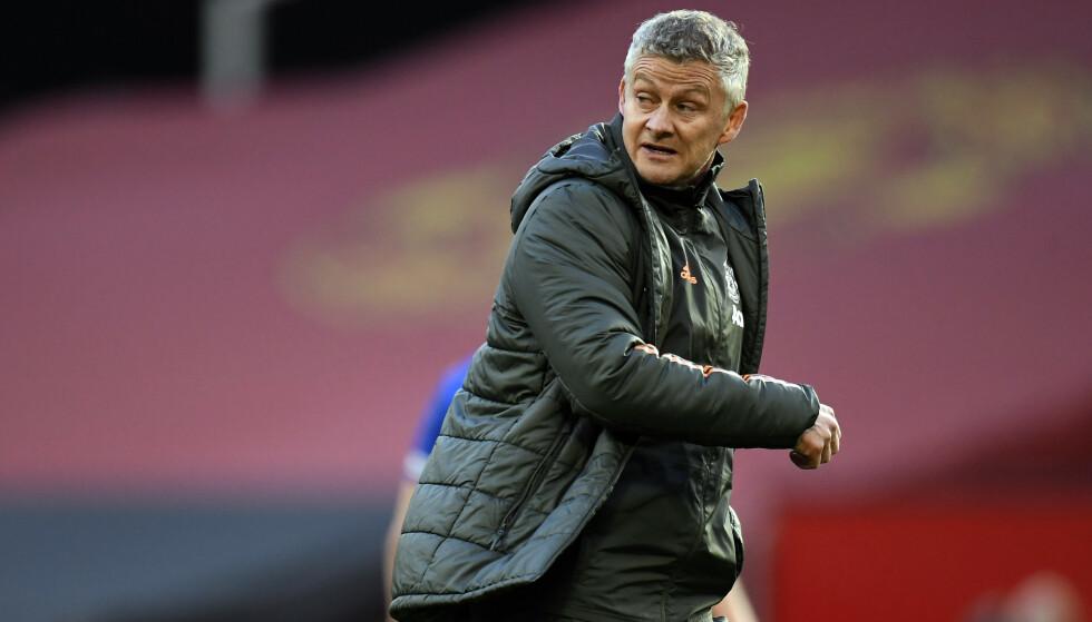 FRUSTRERT: Ole Gunnar Solskjær etter tapet mot Leicester tirsdag kveld. Foto: NTB