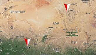 LANGE AVSTANDER: Det norske detasjementet har base i Bamako, og flyr med personell og forsyninger langt opp nord i landet. Foto: Google maps / Dagbladet.