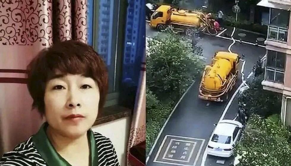 DREPT: Kinesiske Lai Huili skal ha blitt drept av mannen i juli i fjor. Til høyre er bygningen hun bodde i med familien avbildet. Foto: Handout