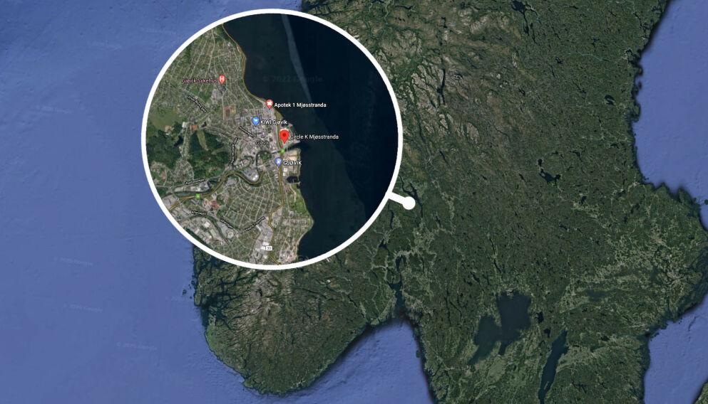 STAPPFULLT: Det meldes om flere ansamlinger av russ og ungdom natt til 17. mai. I Gjøvik sentrum var en bensinstasjon stappfull, ifølge politiet. Foto: Google maps / Dagbladet
