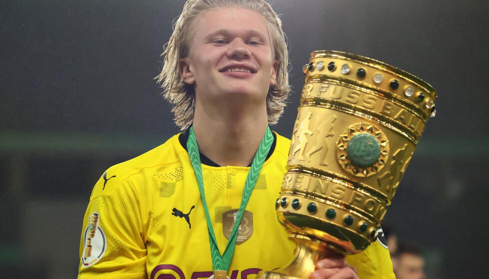 TYSK MESTER: Haaland vant nylig den tyske cupen med Borussia Dortmund. Foto: NTB/Scanpix