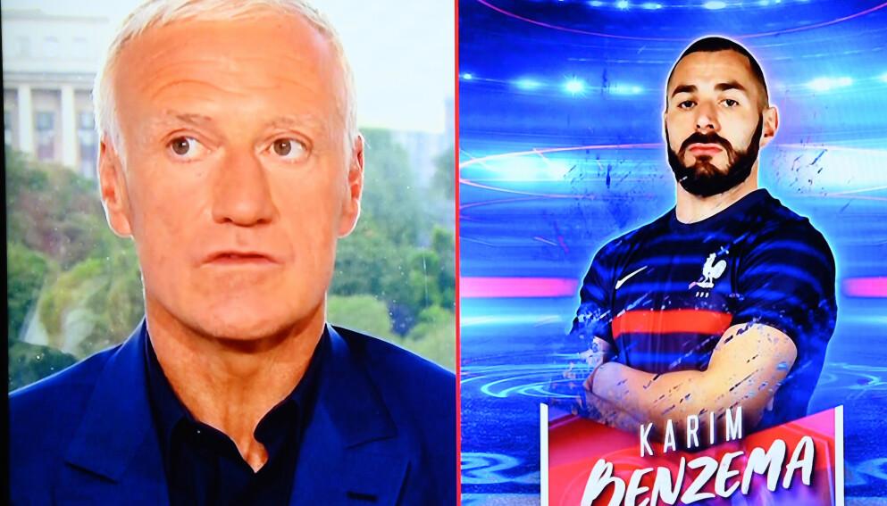 HOVEDROLLENE: Didier Deschamps og Karim Benzema har spilt to av hovedrollene i et over fem år langt drama i fransk landslagsfotball. Foto: Franck Fife, Pool via AP.