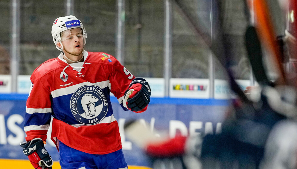 TALENT: Mathias Emilio Pettersen er klar for sitt første seniormesterskap for Norge Foto: Fredrik Hagen, Norges ishockeyforbund / NTB