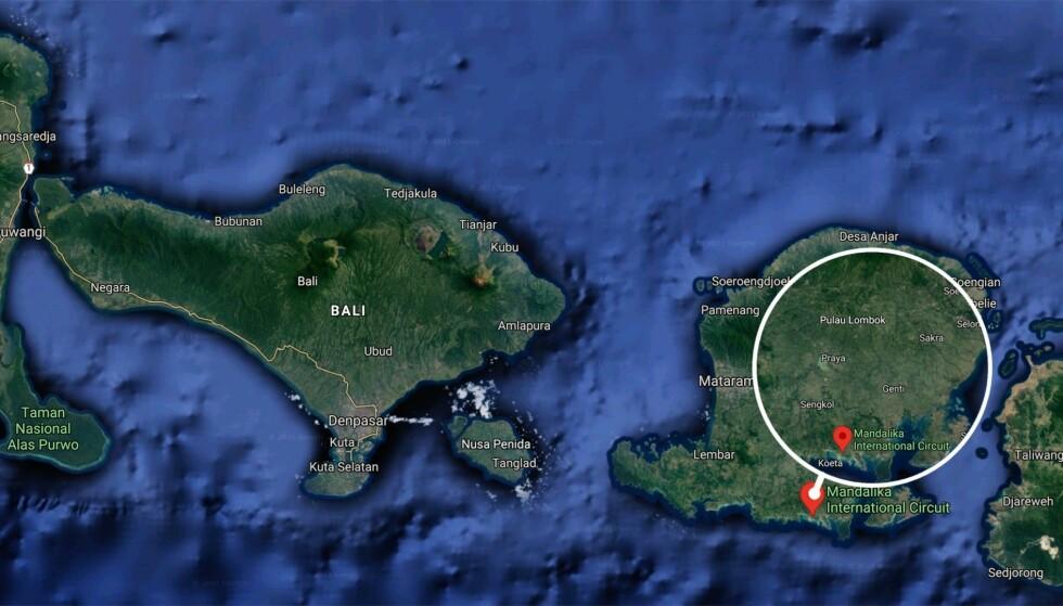 FERIEPARADIS: Indonesiske myndigheter prøver å lokke ferieturister til landsbyen Mandalika, som ligger på øya Lombok, øst for populære Bali. Foto: Google maps / Dagbladet