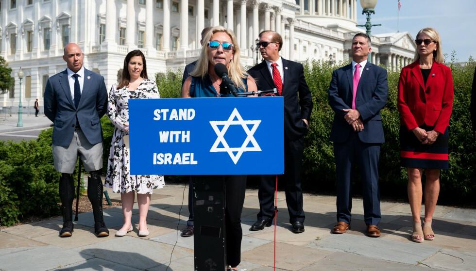 I HARDT VÆR: Den republikanske kongressrepresentanten Marjorie Taylor Greene mener påbud om munnbind likner hvordan jøder ble behandlet under holocaust. Michael Brochstein/SOPA Images/Shutterstock