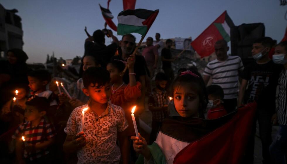 VI MÅ BIDRA: Når regjeringen viser manglende handlekraft, er det desto viktigere med grasrotinitiativ og lokale bidrag av kommuner for å få slutt på okkupasjonen av Palestina, skriver innsenderen. Bilde fra Gaza 25. mai i år. Foto: Mahmud Hams / AFP / NTB