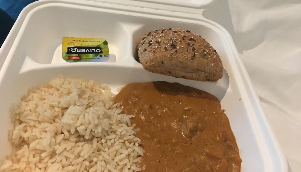 MIDDAG: Ris, rundtsykke og kjøtt i brun saus. Foto: Ann-Christin Sayed