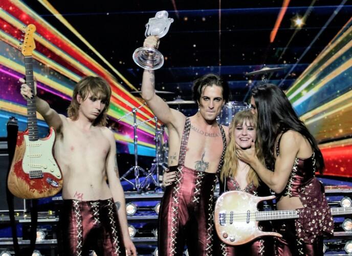 SEIRET: Måneskin gikk helt til topps i Eurovision. Foto: Peter Dejong/AP/NTB