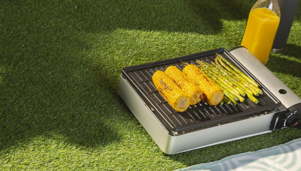REISEGRILL: Den er smart, gassdrevet - og fungerer ypperlig for å lage mat på rasteplasser!