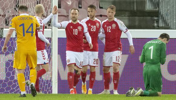 DANSK SUKSESS: Danmark har imponert stort under trener Kasper Hjulmand. Foto: Ritzau Scanpix via REUTERS/Bo Amstrup