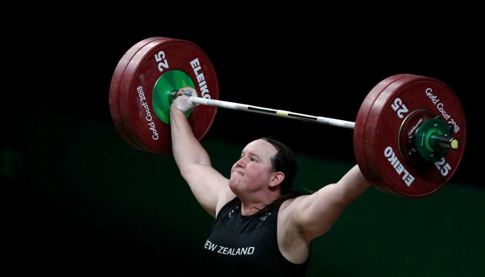 MØTER MOTSTAND: En av Laurel Hubbards konkurrententer mener at hun ikke skulle fått lov til å delta i OL. Foto: AFP
