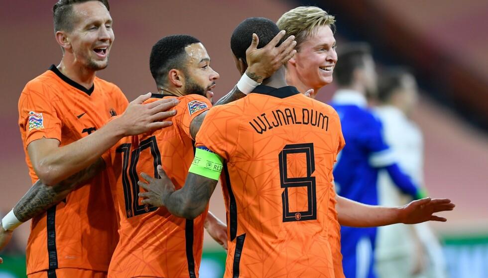 TOPPSCORER: Ingen har scoret flere mål for Nederland siden april 2019 enn Liverpools Gini Wijnaldum. Foto: JOHN THYS / POOL / AFP / NTB