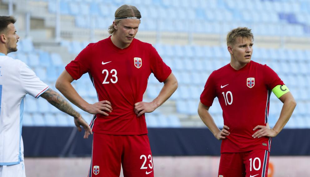 LITE SAMSPILL: Martin Ødegaard fant sjelden Erling Braut Haaland mot Luxembourg. De fungerte ikke som noe superpar. FOTO Geir Olsen / NTB
