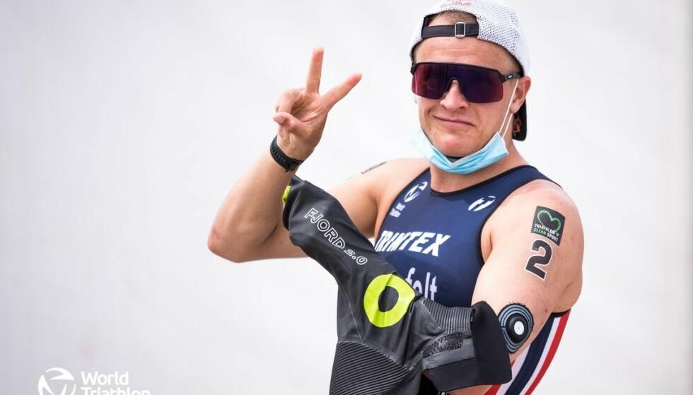ELSKER Å KONKURRERE: Kristian Blummenfelts mål er å ta OL-gull i Tokyo. Foto: Tommy Zaferes / World Triathlon