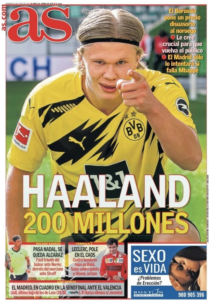 I overskriftene: Den store sportsavisen Aesling fokuserer mer på Broad Holland på søndag.
