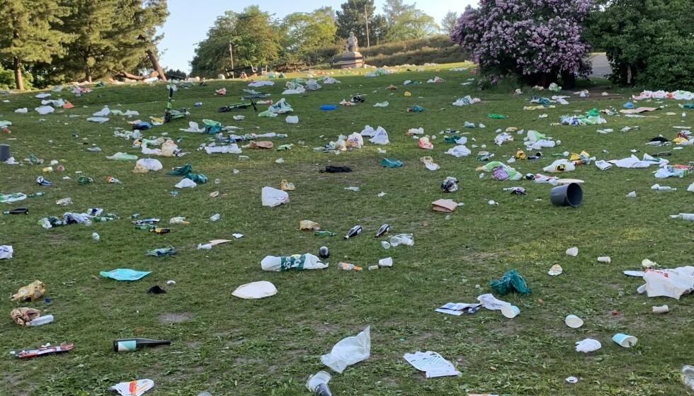 SKUMMELT I GRESSET: St. Hanshaugen park 06.30 søndag morgen. - Farlig med glasskår, advarer ryddemannskapet. Foto: Øystein Andersen / Dagbladet.