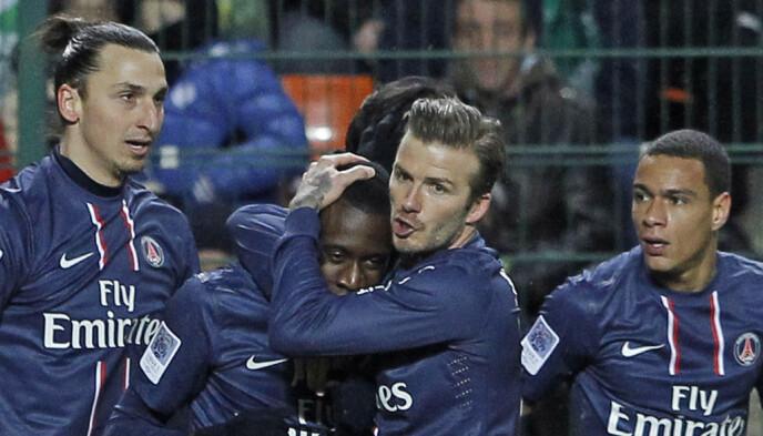 KJENNING: David Beckham og Blaise Matuidi var lagkamerater i PSG. Sommeren 2020 signerte eieren franskmannen og Gonzalo Higuaín. Her med Zlatan Ibrahimovic og Gregory Van der Wiel i kampen mot Saint-Etienne i 2013. FOTO: AP/NTB