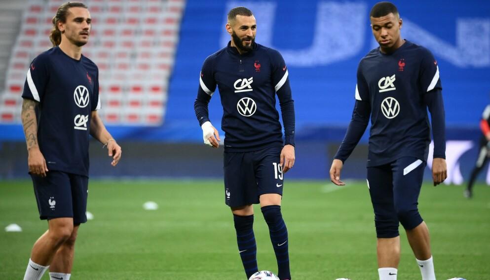 MÅLFARLIGE: En fransk trio kan sende Frankrike til topps i EM. Foto: Francke Fife / AFP