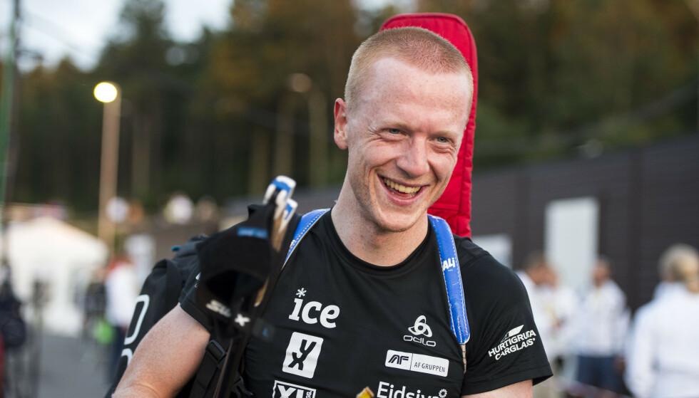 STØTTER: Johannes Thingnes Bø støtter en markering i forbindelse med OL i Bejing. Foto: Carina Johansen / NTB