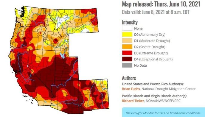 «EKSEPSJONELL TØRKE»: Kartet viser alvoret i situasjonen. De to mørkeste fargene representerer ekstrem og «eksepsjonell» tørke. Grafikk: U.S. Drought Monitor