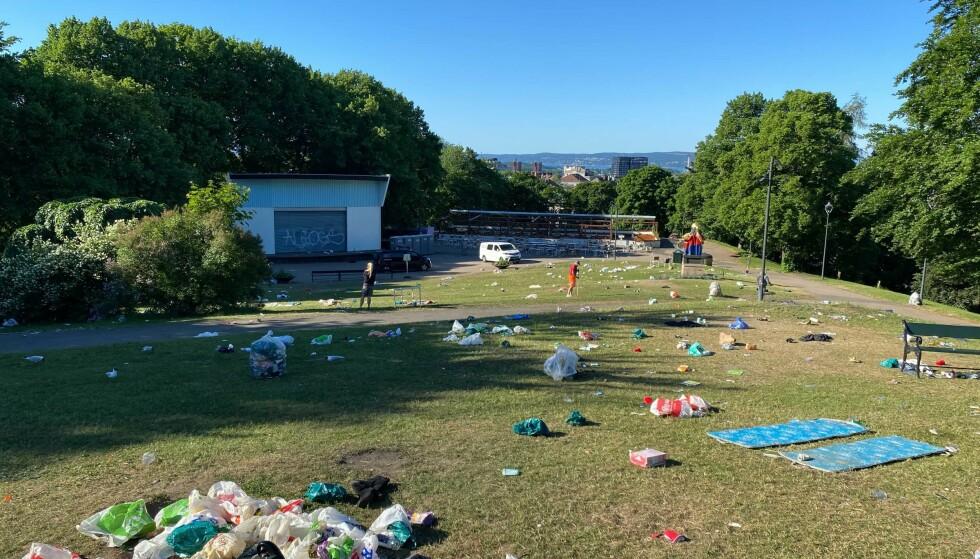 SØPPEL: Slik så det ut i morgentimene i dag på St. Hanshaugen i Oslo. Foto: Elias Kr. Zahl-Pettersen / Dagbladet.
