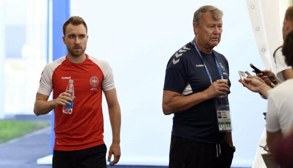 NÆRT FORHOLD: Christian Eriksen og Åge Hareide jobbet sammen i det danske landslaget. Foto: NTB/Scanpix