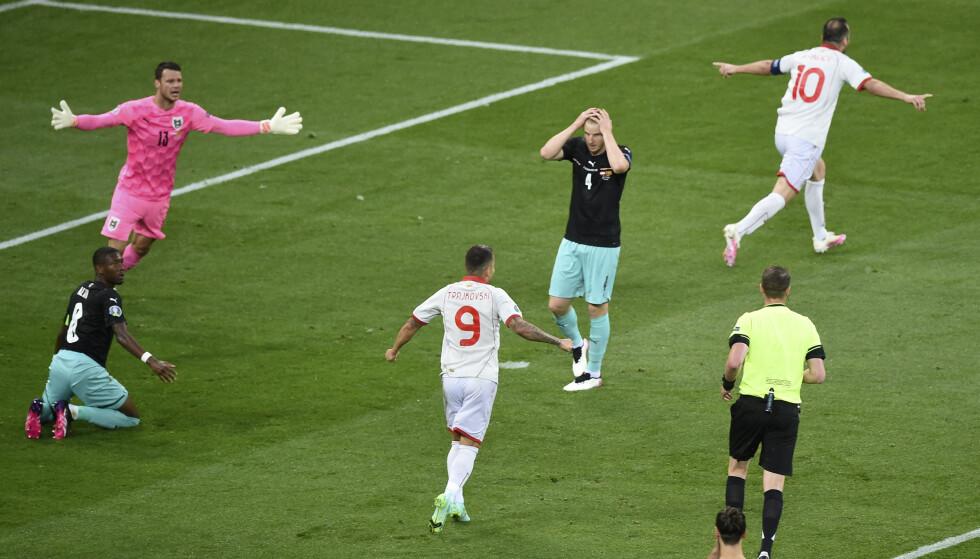 HISTORISK: Målet til Goran Pandev er Nord-Makedonias første mål i EM i historien.