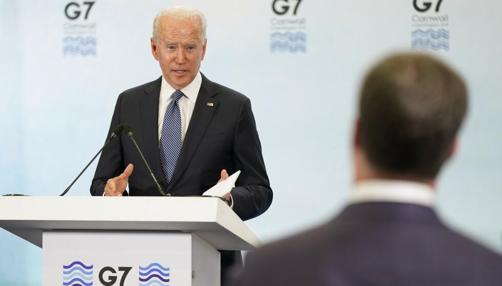RUSSLAND-KRITIKK: I slutterklæringen som ble lagt fram etter helgens toppmøte, krever G7-landene at at russiske myndigheter må etterforske bruken av kjemiske våpen på egen jord, og stanse sitt systematiske angrep på sivilt samfunn og mediene som ikke er enig med myndighetene. Foto: AP Photo/Patrick Semansky / NTB