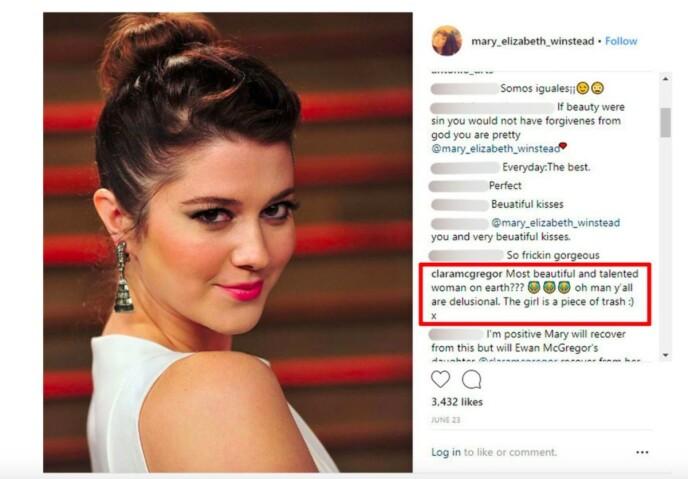 RASTE: Clara McGregor holdt ikke tilbake om hva hun syntes om sin nye stemor i et kommentarfelt på Instagram. Foto: Skjermdump / Instagram