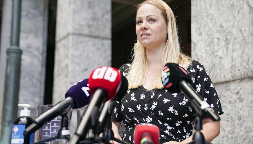 MISTILLIT: Gruppeleder for Rødt i Oslo bystyre, Eivor Evenrud, fortalte tirsdag om partiets standpunkt i mistillitssaken mot byråd Lan Marie Berg (MDG). Foto: Stian Lysberg Solum / NTB
