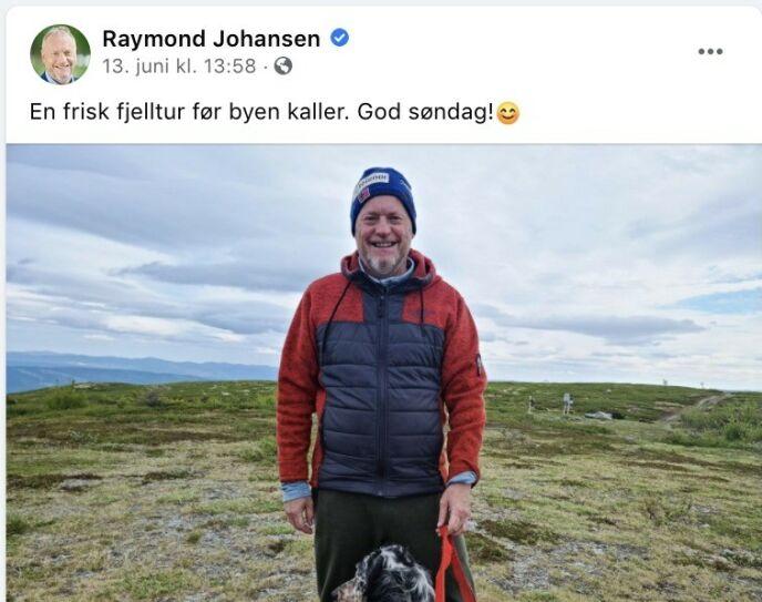 BLÅSTE FRISKT: Raymond Johansen kontaktet Eivor Evenrud i Rødt i helga, mens han var på hytta, men lyktes ikke få partiet til å avvise mistillitsforslaget. Foto: