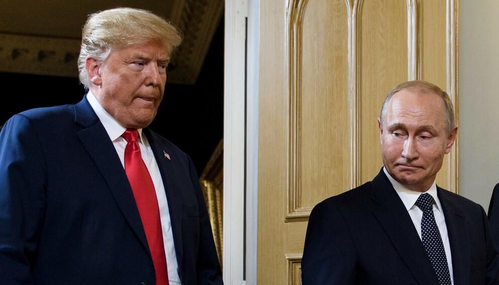 VILLE AVBRYTE: Trumps tidligere rådgiver ønsket å avbryte et møte mellom tidligere president Donald Trump og den russiske presidenten, Vladimir Putin, i Helsinki i 2018. Foto: AFP / NTB