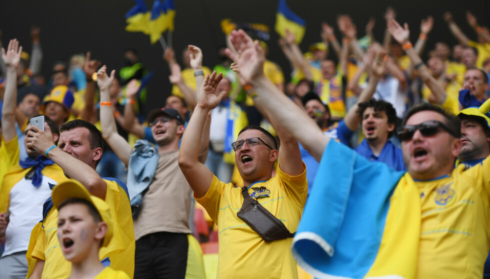 JUBEL: Ukraina-fansen fikk en god kveld på Arena Nationala. Foto: Reuters