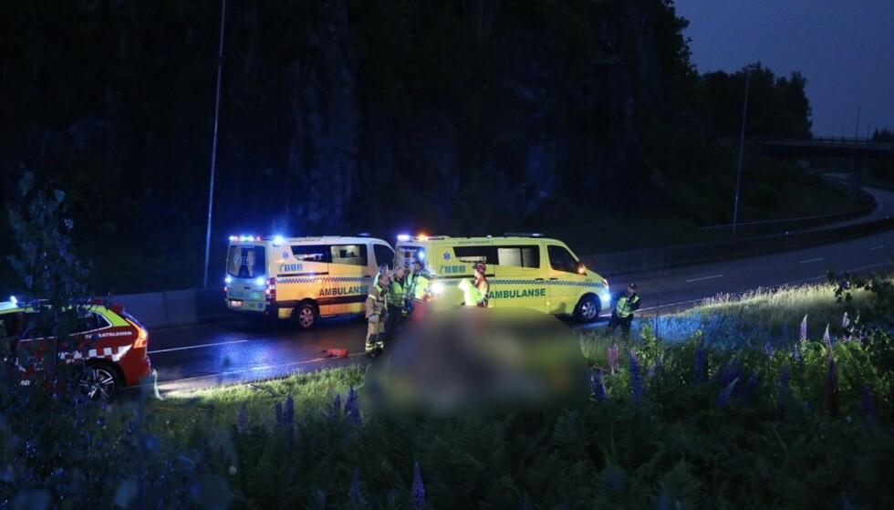 ULYKKE: Et helikopter styrtet i Porsgrunn i Telemark torsdag kveld. Foto: Theo Aasland Valen