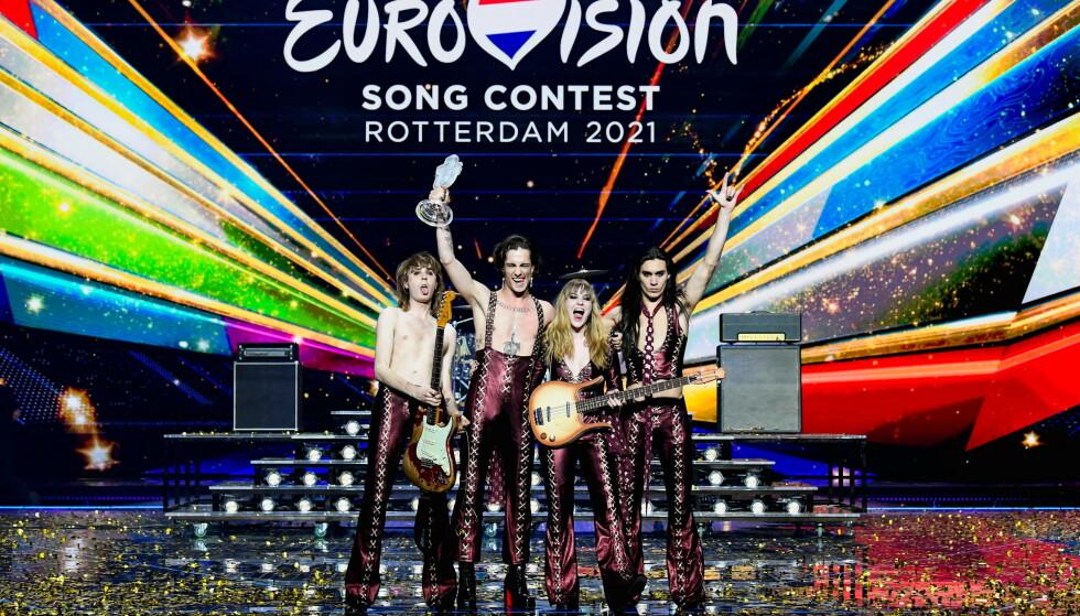 FINALEDAGEN: Under årets Eurovision i Nederland var det italienske Måneskin som stakk av med førsteplassen. Foto: NTB