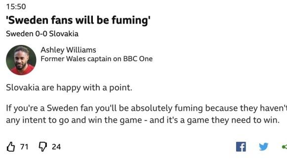 FORBANNA: Ashley Williams var ikke nådig med svenskene i den første omgangen. Foto: Faksimile/BBC