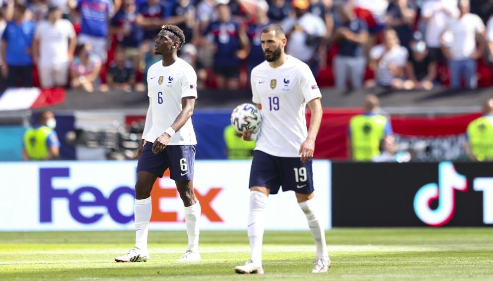SKUFFET: Paul Pogba og Karim Bemzema fikk det ikke til å stemme mot Ungarn og klarte bare uavgjort mot Ungarn. Foto: AP