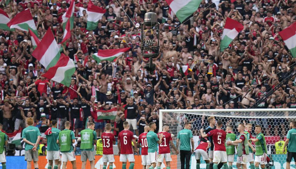 FOLKEFEST: Ungarn feiret ett poeng mot EM-favoritt Frankrike. Foto: AP