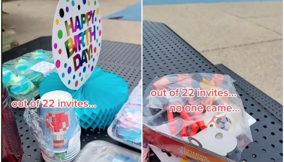 ALT KLART: Kake, lys, partyfløyter og alt som trengs for en perfekt barnebursdag var handlet inn. Foto: Privat