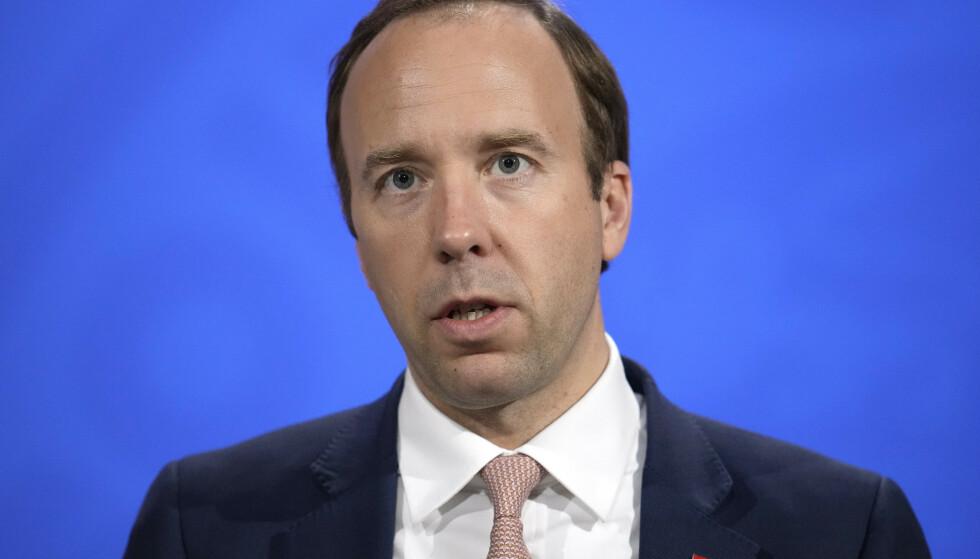 GÅR AV: Matt Hancock går av som helseminister i Storbritannia etter utroskapsskandalen, melder Sky News. Foto: NTB / Matt Dunham / POOL / AFP