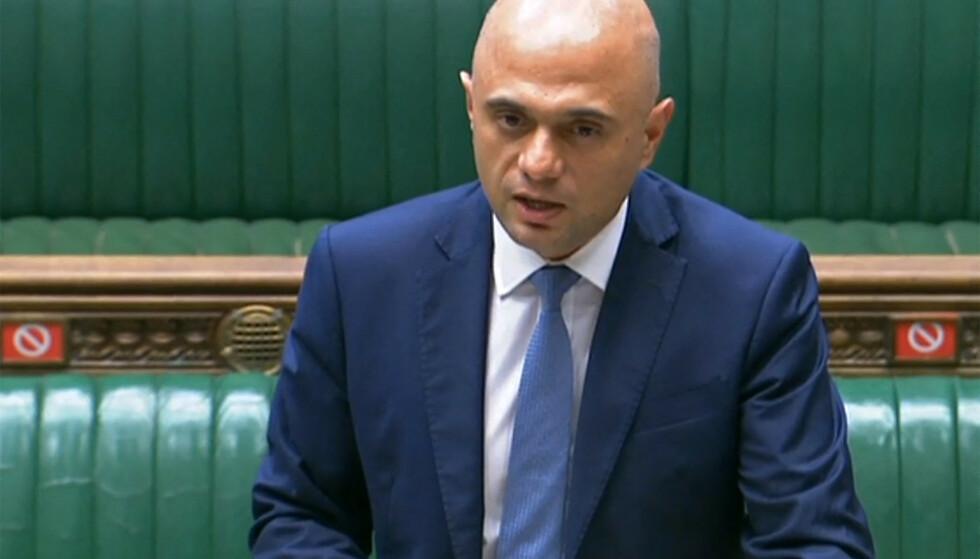 Ministro della salute: il nuovo ministro della salute del Regno Unito, Sajid Javid, ha pubblicato oggi un aggiornamento sul caso Corona.  Foto: AFP/PRU/NTB.