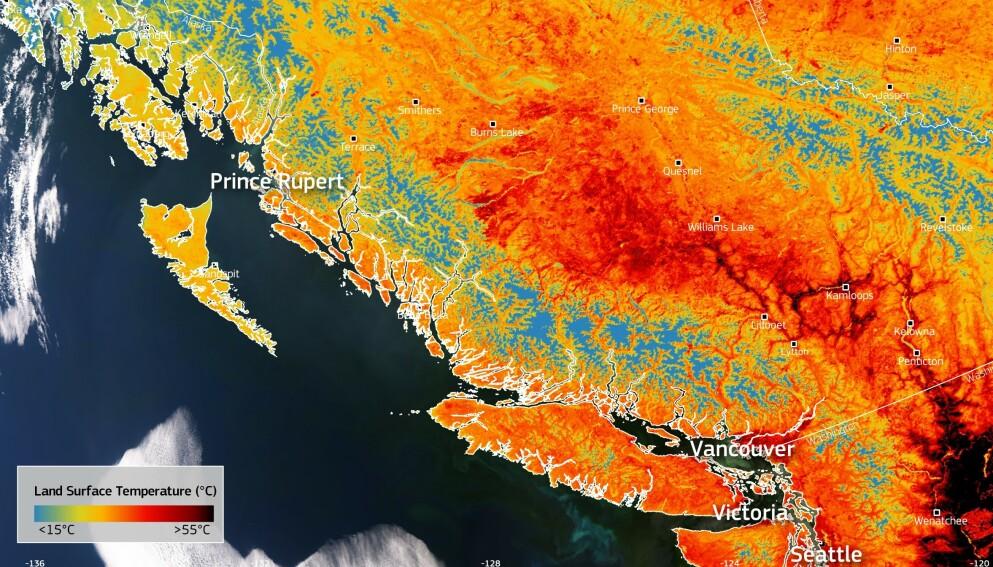 HETEBØLGE: For tre dager siden var den nasjonale varmerekorden i Canada på 45 grader. Nå er den på 49,5 grader. Foto: European Union, Copernicus Sentinel-3 imagery