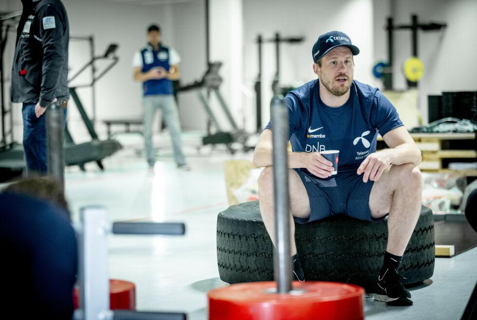 MOTIVERT: Kjetil Jansrud under en fellesøkt med alpintlandslaget på Lørenskog. Han kombinerer familieliv med å legge ned grovarbeidet før OL-sesongen. Foto: Bjørn Langsem